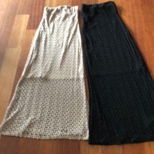 Strapless crocheted maxi dresses